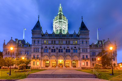 Connecticut Capitol Building where testimony was delivered regarding blockchain