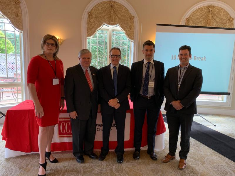 Nick Kammerman poses with fellow panelists at the CT Chapter of CCIM's Annual Mid-Year Commercial Real Estate Symposium & Wayne D'Amico Memorial Golf Outing. The panel of experts discussed blockchain and its impact on commercial real estate.